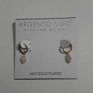 Argento Vivo Hamsa Earrings Sterling 14k NEW